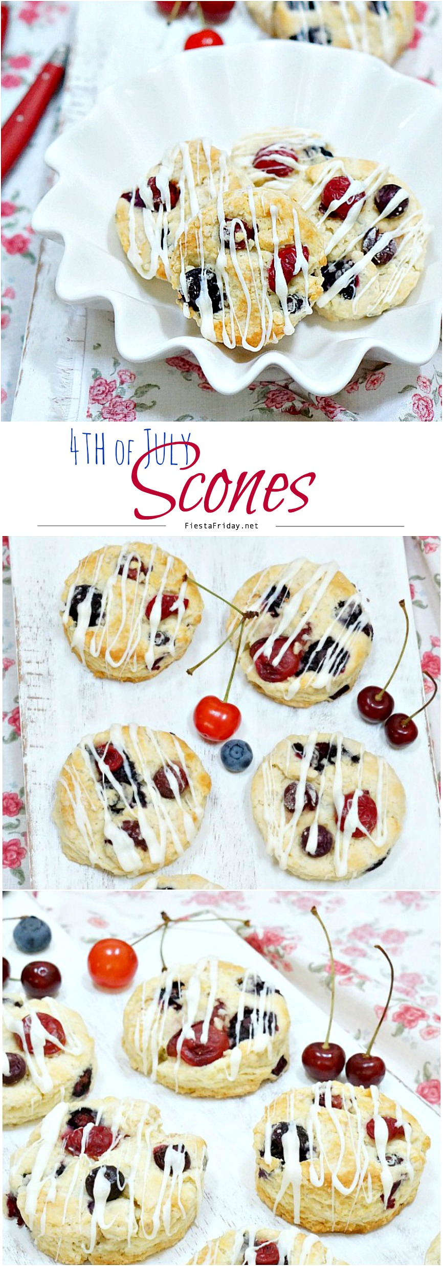 Red, White, and Blue Scones - Fiesta Friday
